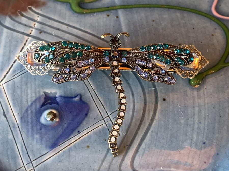 Barrette Blue Dragonfly