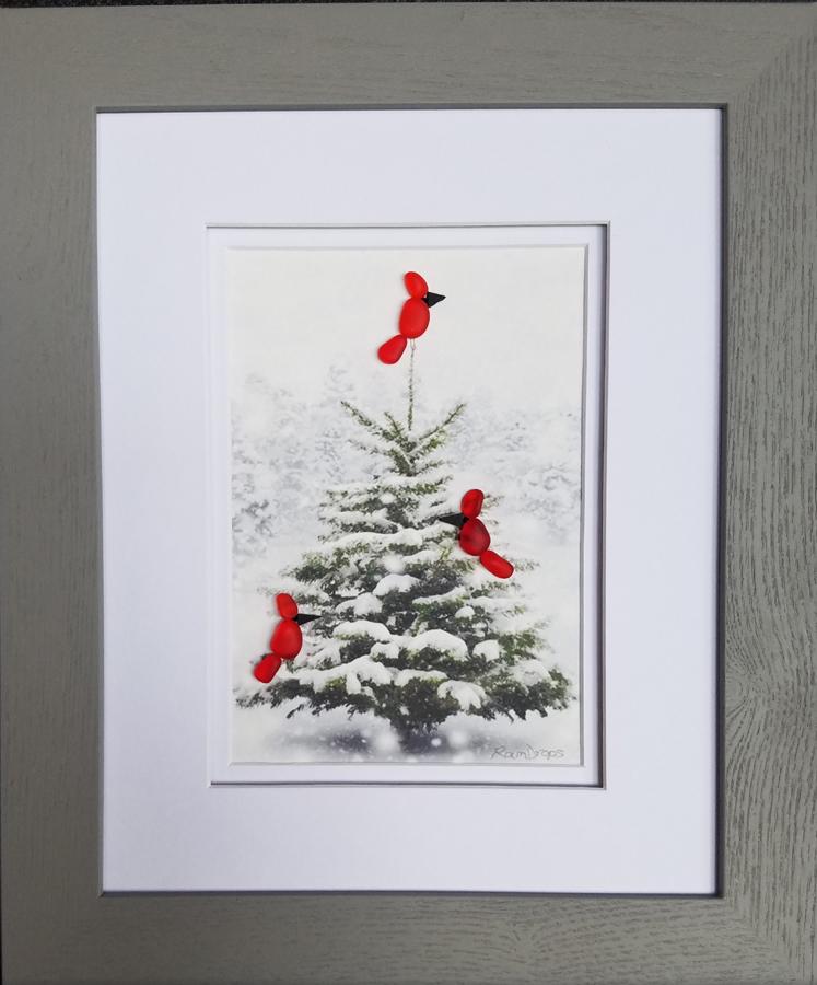 Cardinal in a fir tree
