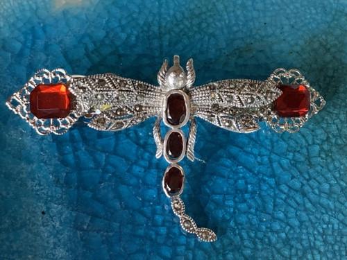 Garnet dragonfly barrette