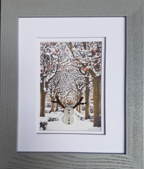 Snowman in Fall Trees