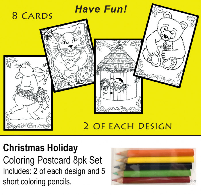 Holiday coloring postcards