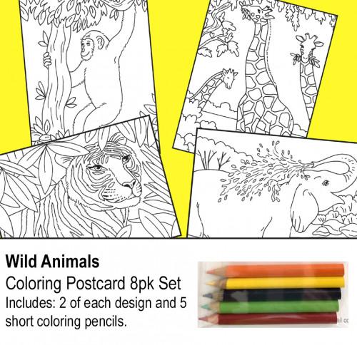 Wild animal coloring postcards